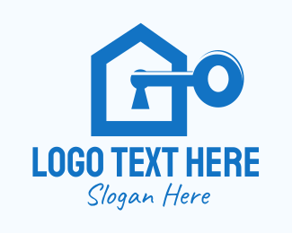 Unlock - Blue Home Key logo design