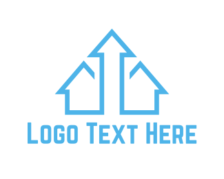 Blue And White - Blue Arrow House logo design