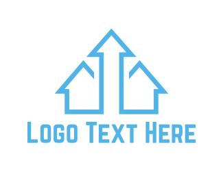 Up - Blue Arrow House logo design