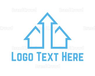 Vertical - Blue Arrow House logo design