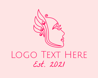 Eyelash - Phoenix Lady Line Art logo design