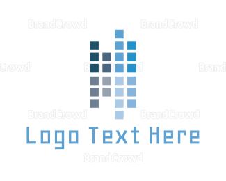 Bitmap - Blue Pixels logo design