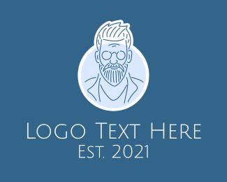 Mysterious - Old Man Line Art logo design