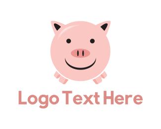 Piglet - Happy Pig logo design