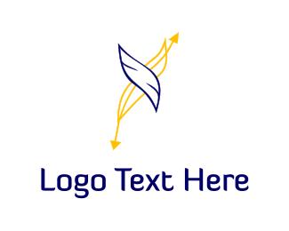 Plume - Blue & Yellow Feathers logo design