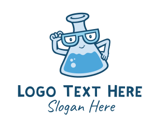 School - Science Flask Nerd logo design