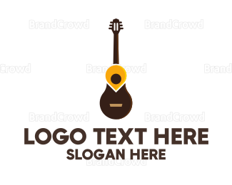 Instrument - Guitar Location Pin logo design
