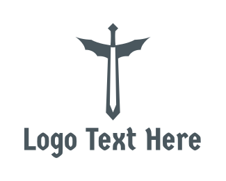 Fiction - Medieval Dragon Sword logo design
