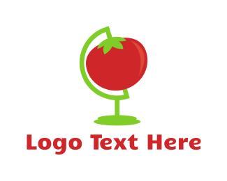 Vegetarian Food - Red Tomato Globe logo design