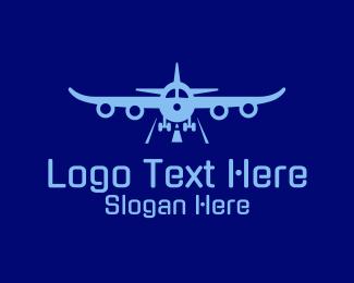 Airliner - Blue Aviation Airplane logo design