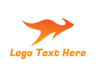 Orange Fire - Flame Kangaroo logo design