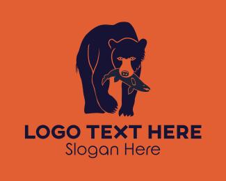 Salmon - Bear & Salmon logo design