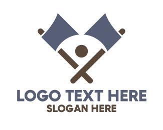 Axe - Abstract  Blue Axe logo design