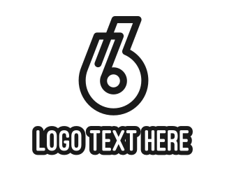 Number 6 - Black Number 6 Outline logo design