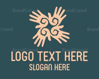 Donation Center - Hand Flower logo design