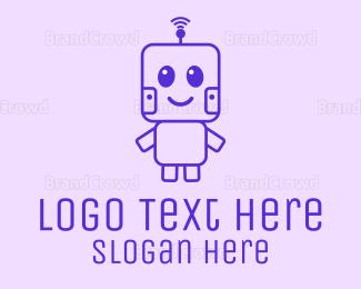 Adorable - Cute Outline Robot logo design