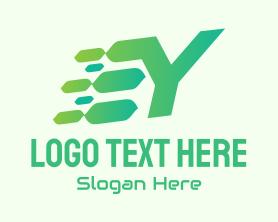 App - Green Speed Motion Letter Y logo design
