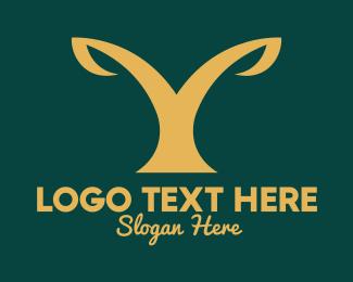 Crops Field - Golden Plant Letter Y logo design