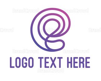Distorted - Purple E Outline logo design