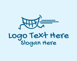 Oral Health - Running Teeth Smile  logo design