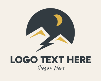 Dune - Night Mountain Scene Lightning logo design