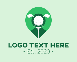 Golf Ball - Green Golf Location Pin logo design