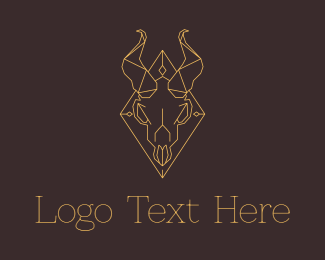 Occult - Geometric Ram Skull logo design