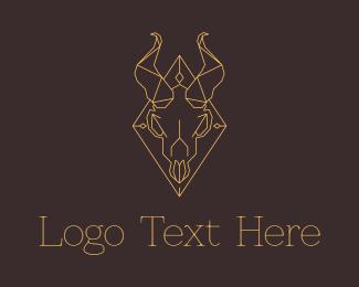 Demon - Geometric Ram Skull logo design