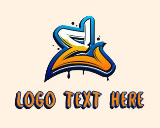 Ink Splatter - Ink Splatter Graffiti Letter E  logo design