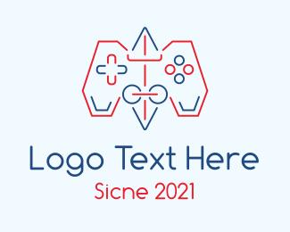 Line Art - Game Controller Line Art logo design