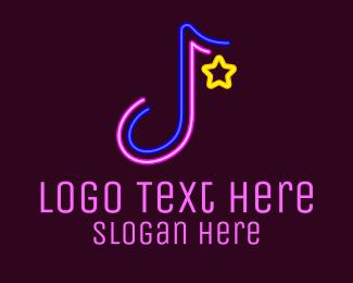 Playlist - Neon Musical Note logo design