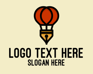 Journalism - Hot Air Balloon Pen  logo design