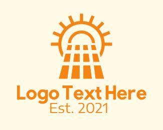 Solar - Orange Solar Panel  logo design