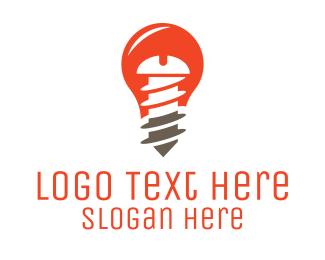 Light Bulb - Screw Light Bulb logo design