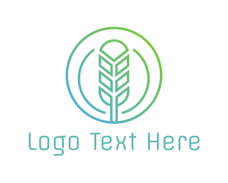 Agriculture - Round Rice Grain Outline  logo design