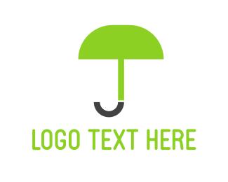 Letter J - Green Umbrella logo design