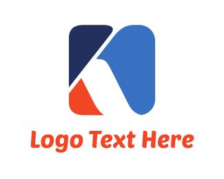 Shape - Blue & Orange Letter K logo design