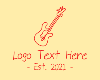 Banjo Lesson - Red Electric Guitar Monoline  logo design