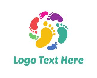 Walk - Colorful Footprints logo design