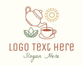 Morning - Monoline Morning Teahouse logo design