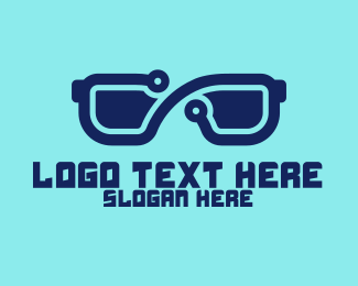 Eye Glasses - Blue 3D Eyeglasses logo design