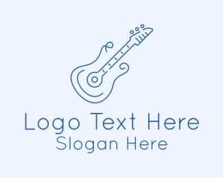 Minimalist - Electric Guitar Outline logo design