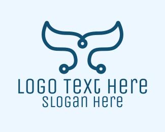 Mermaid Tail - Simple Digital Tail logo design