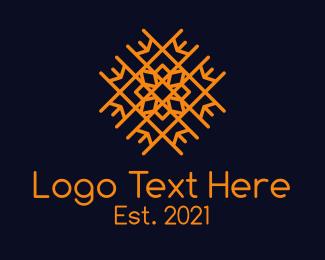 Flooring - Orange Floral Tiling logo design