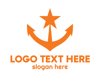 Oceanic - Orange Star Anchor logo design