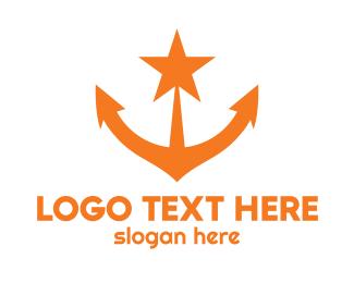 Oceanic - Orange Star Anchor logo design