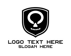 Steampunk - Black Skull Shield logo design