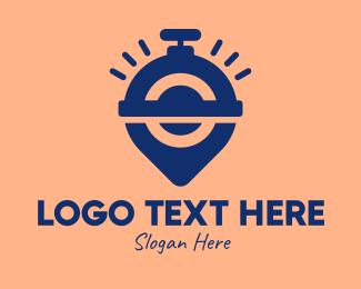 Trainer - Stopwatch Location Pin logo design