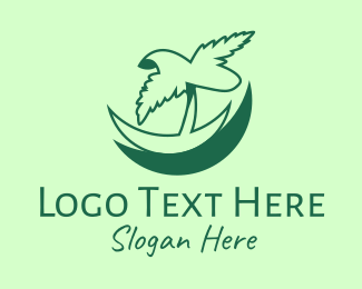 Tropical - Green Tropical Palm logo design