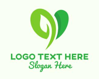 Life - Green Leaf Heart logo design